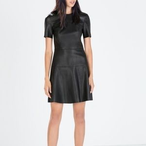 Zara Woman Faux leather fit and flare dress